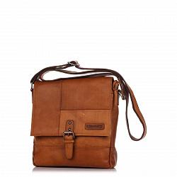 Кожаная мужская сумка HILL BURRY 2040 коричневого цвета с клапаном и карманом на молнии