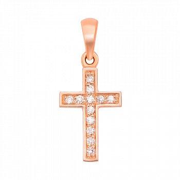 Декоративний хрестик із червоного золота з діамантами 000131492