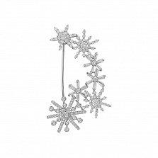 Серебряная брошь Танец снежинок с фианитами