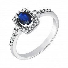 Серебряное кольцо Роберта с сапфиром и фианитами