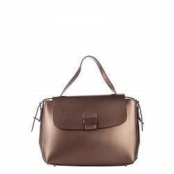Кожаная деловая сумка Genuine Leather 8838 бронзового цвета на молнии и магнитной кнопке