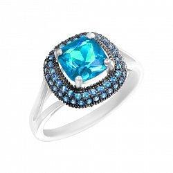 Серебряное кольцо Мальта с голубыми фианитами
