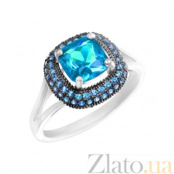 Серебряное кольцо Мальта с голубыми фианитами 000081567