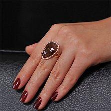 Золотое кольцо Женева с раухтопазом и фианитами