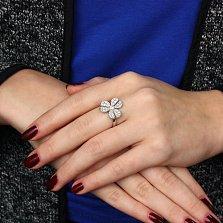Серебряное родированное кольцо Фиалка с цирконием