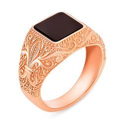 Перстень-печатка із червоного золота з оніксом 000134120