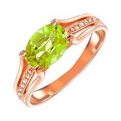 Кольцо из красного золота с хризолитом и фианитами 000106446