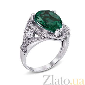 Кольцо Мерилин с зеленым кварцем 1675/9р зел.кварц
