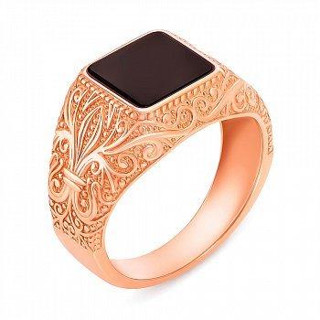 Перстень-печатка из красного золота с ониксом 000134120