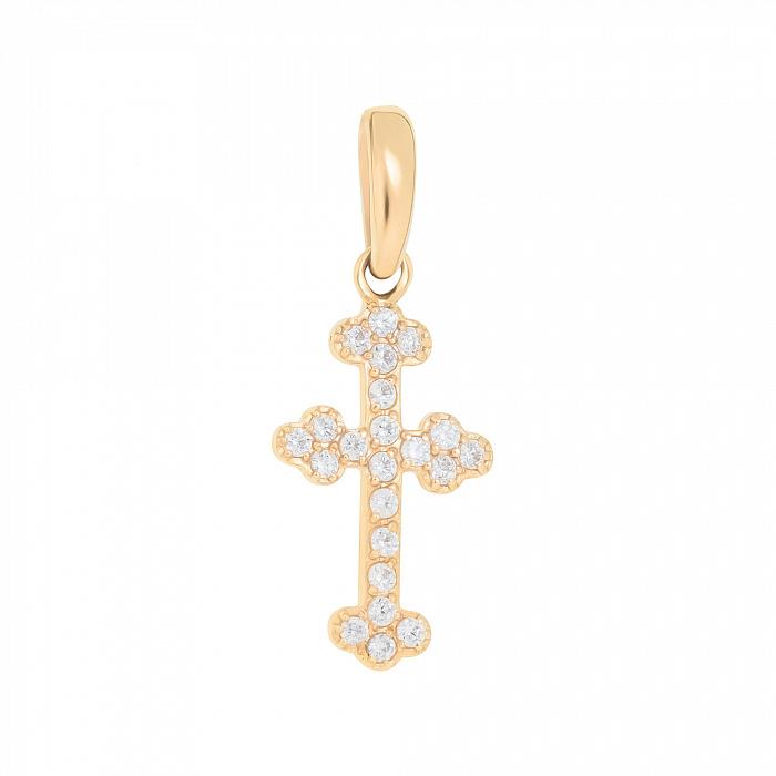 Декоративный крестик в желтом золоте с белыми фианитами 000096772 000096772