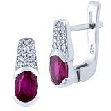 Серебряные серьги Радия с рубинами и фианитами