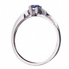Золотое кольцо с бриллиантами и сапфиром Доминикана