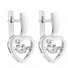 Серебряные серьги Нежная влюбленность с крутящимися фианитами