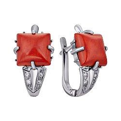 Серебряные серьги Августа с кораллами и фианитами