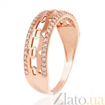 Золотое кольцо с цирконием Ажурная мечта EDM--КД2019