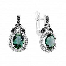 Серебряные серьги Анемона с зеленым кварцем, черными и белыми фианитами