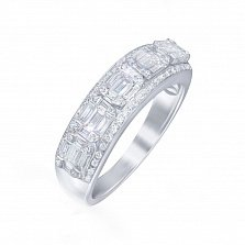 Золотое кольцо Марта в белом цвете с дорожками и бриллиантами
