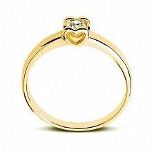 Кольцо Сердце из лимонного золота с бриллиантом