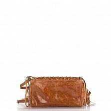 Кожаный клатч Genuine Leather 1301 коричневого цвета с бахромой и строчками
