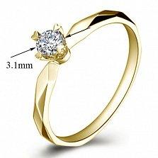 Помолвочное кольцо из желтого золота Моя принцесса с бриллиантом 3,1мм