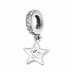 Серебряный шарм-подвеска Звездочка с фианитами 000116420