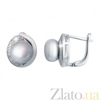 Серебряные серьги с жемчугом Лазурный берег AQA--E00171PG