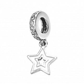 Срібний шарм-підвіска Зірочка з фіанітами 000116420