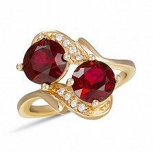 Золотое кольцо Двойное измерение с синтезированными рубинами и фианитами