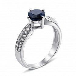 Серебряное кольцо с сапфиром и фианитами 000134904