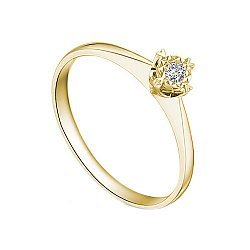 Золотое помолвочное кольцо в желтом цвете с насечкой вокруг бриллианта 0,07ct 000070599