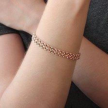 Золотой браслет Гваделупа в плетении двойной бисмарк, 8мм