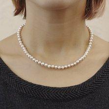 Ожерелье Эскетер из белого жемчуга с серебряным замком