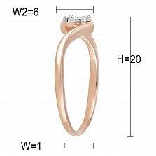 Кольцо из красного золота с бриллиантом Лирика