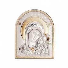 Серебряная с позолотой икона Казанской Божьей Матери
