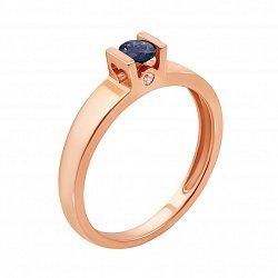 Кольцо в красном золоте Карина с сапфиром и бриллиантом