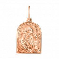 Ладанка из красного золота Казанская Божья Матерь 000126442