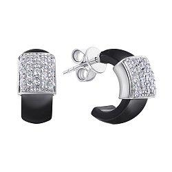 Серебряные серьги с черной керамикой и фианитами 000131750