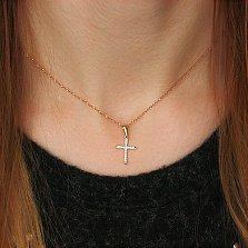Золотой декоративный крестик Грани Сияния с бриллиантами