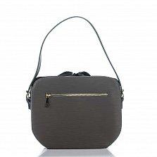 Кожаная сумка на каждый день Genuine Leather 3317 темно-серого цвета на кулиске с карманом на молнии