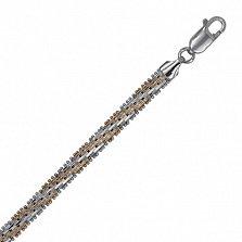 Серебряный браслет с позолотой Джоконда, 20 см
