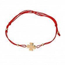 Шелковый браслет Клевер в красном золоте
