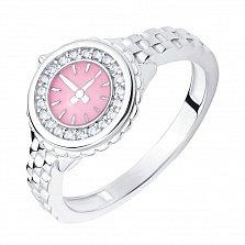 Серебряное кольцо Ролекс в виде часов с розовой эмалью и белыми фианитами
