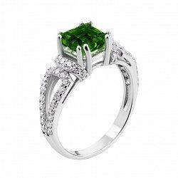 Серебряное кольцо с зеленым кварцем и фианитами 000133664