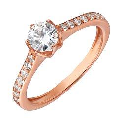 Кольцо в красном золоте с фианитами 000022903