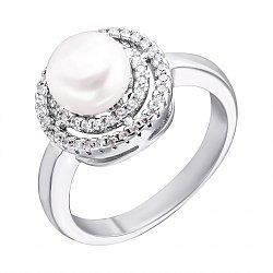 Серебряное кольцо с жемчугом и цирконием 000132589