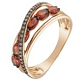 Кольцо из красного золота Мальдивы с гранатами и бриллиантами