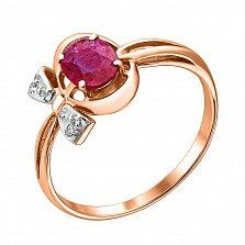Золотое кольцо с бриллиантами и рубином Мериса