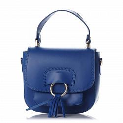 Кожаный клатч Genuine Leather 1524 синего цвета с короткой ручкой, карманом и клапаном на магните 00