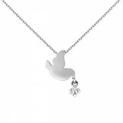 Серебряное колье Птичий дар с кристаллом циркония