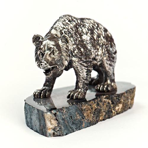 Серебряная статуэтка Медведь 271